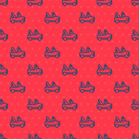 Blue line Tow truck icon isolated seamless pattern on red background. Vector