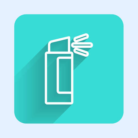 White line Pepper spray icon isolated with long shadow. OC gas. Capsicum self defense aerosol. Green square button. Vector