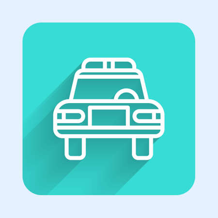 White line Police car and police flasher icon isolated with long shadow. Emergency flashing siren. Green square button. Vector