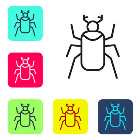 Black line Beetle bug icon isolated on white background. Set icons in color square buttons. Vector Illusztráció