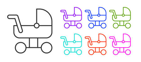 Black line Baby stroller icon isolated on white background. Baby carriage, buggy, pram, stroller, wheel. Set icons colorful. Vector