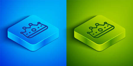 Isometric line King crown icon isolated on blue and green background. Square button. Vector Ilustrace