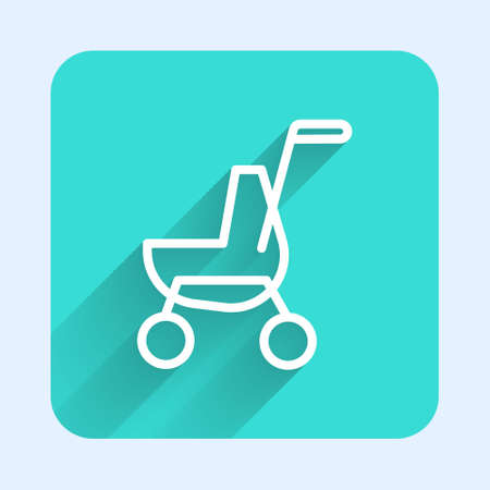 White line Baby stroller icon isolated with long shadow. Baby carriage, buggy, pram, stroller, wheel. Green square button. Vector