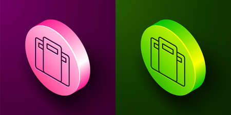Isometric line Police assault shield icon isolated on purple and green background. Circle button. Vector Ilustração