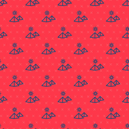 Blue line Egypt pyramids icon isolated seamless pattern on red background. Symbol of ancient Egypt. Vector
