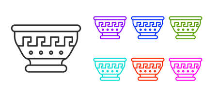 Black line Greek ancient bowl icon isolated on white background. Antique amphora with patterns collection. Ancient Greece bowl. Set icons colorful. Vector