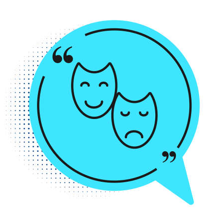 Black line Comedy and tragedy theatrical masks icon isolated on white background. Blue speech bubble symbol. Vector