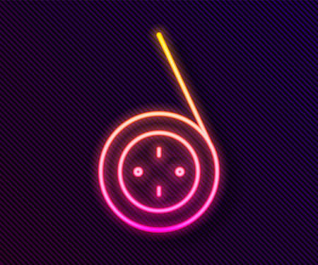 Glowing neon line Yoyo toy icon isolated on black background. Vector