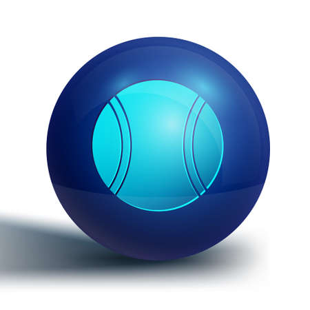 Blue Tennis ball icon isolated on white background. Sport equipment. Blue circle button. Vector Illustration
