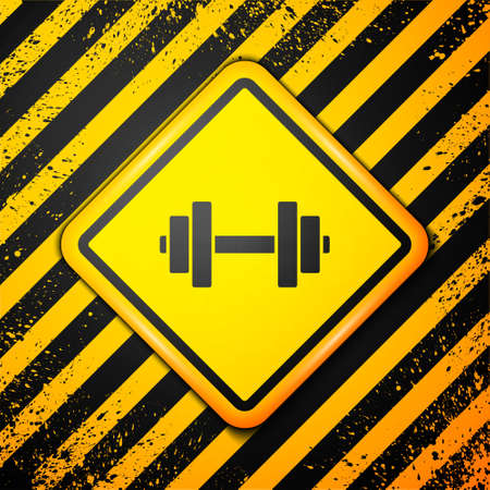 Black Dumbbell icon isolated on yellow background. Muscle lifting icon, fitness barbell, gym, sports equipment, exercise bumbbell. Warning sign. Vector Illustration