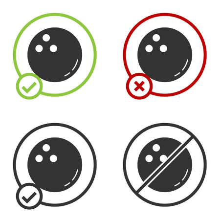 Black Bowling ball icon isolated on white background. Sport equipment. Circle button. Vector Illustration