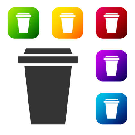 Black Coffee cup to go icon isolated on white background. Set icons in color square buttons. Vector Illustration