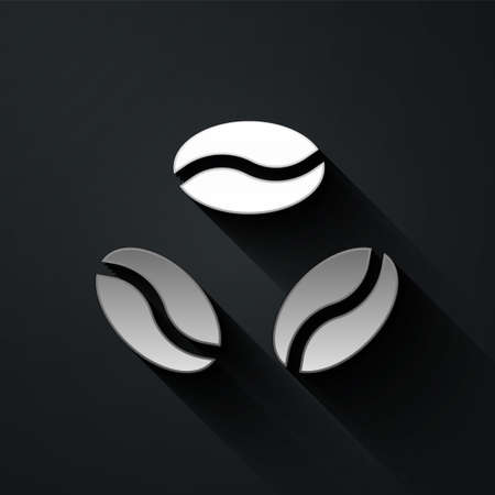 Silver Coffee beans icon isolated on black background. Long shadow style. Vector Illustration