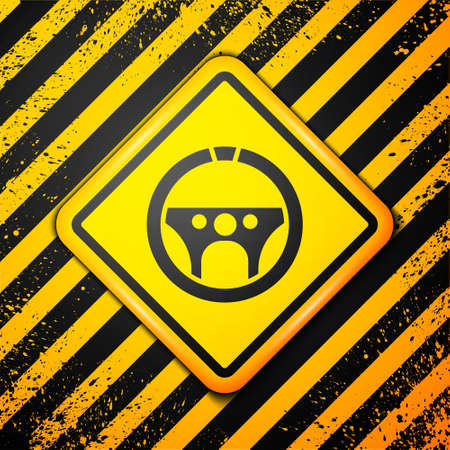 Black Steering wheel icon isolated on yellow background. Car wheel icon. Warning sign. Vector Illustration