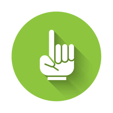 White Number 1 one fan hand glove with finger raised icon isolated with long shadow. Symbol of team support in competitions. Green circle button. Vector Illustration