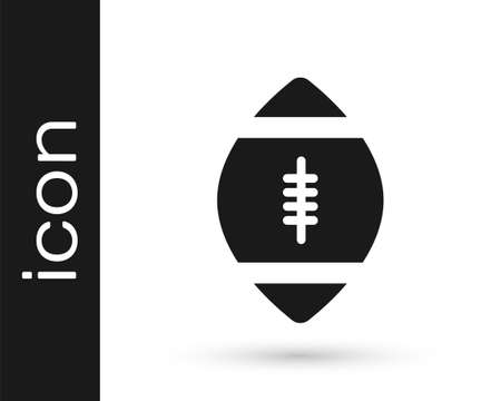 Grey American Football ball icon isolated on white background. Rugby ball icon. Team sport game symbol. Vector Illustration