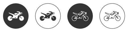 Black Motorcycle icon isolated on white background. Circle button. Vector Illustration