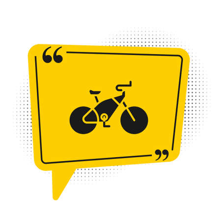 Black Bicycle icon isolated on white background. Bike race. Extreme sport. Sport equipment. Yellow speech bubble symbol. Vector Illustration