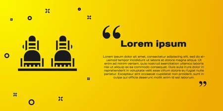Black Snowboard icon isolated on yellow background. Snowboarding board icon. Extreme sport. Sport equipment. Vector Illustration