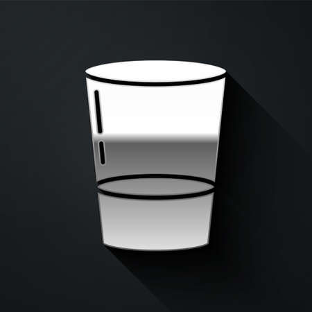 Silver Glass with water icon isolated on black background. Soda glass. Long shadow style. Vector Illustration