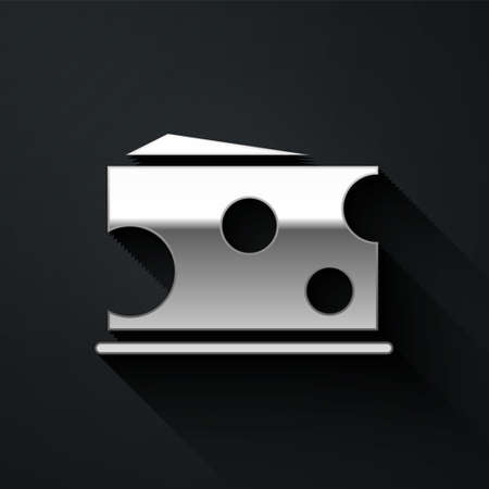 Silver Cheese icon isolated on black background. Long shadow style. Vector Illustration