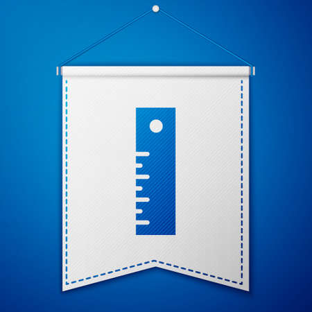 Blue Ruler icon isolated on blue background. Straightedge symbol. White pennant template. Vector Illustration