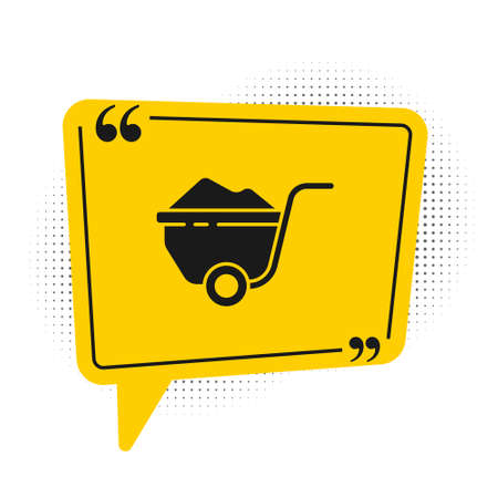 Black Wheelbarrow with dirt icon isolated on white background. Tool equipment. Agriculture cart wheel farm. Yellow speech bubble symbol. Vector Illustration