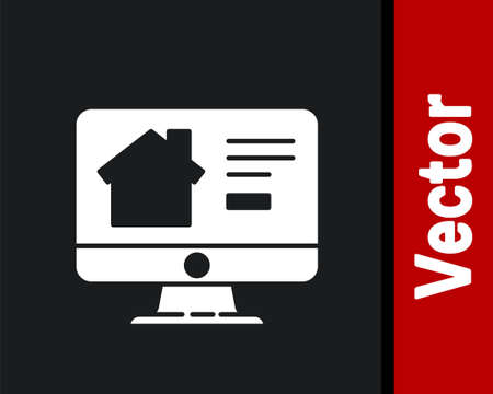 White Online real estate house on monitor icon isolated on black background. Home loan concept, rent, buy, buying a property. Vector Illustration