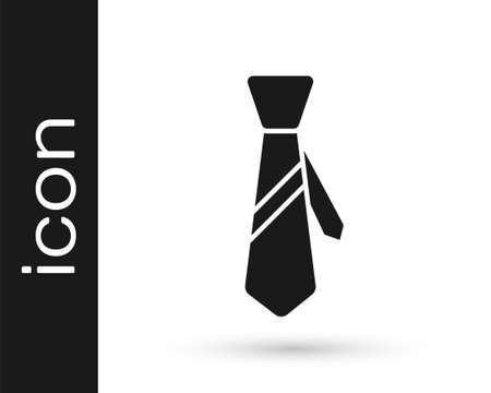 Grey Tie icon isolated on white background. Necktie and neckcloth symbol. Vector Illustration