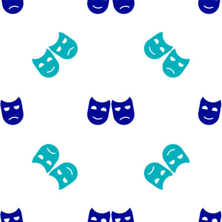 Blue Comedy and tragedy theatrical masks icon isolated seamless pattern on white background. Vector Illustration