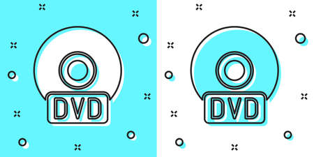 Black line CD or DVD disk icon isolated on green and white background. Compact disc sign. Random dynamic shapes. Vector Illustration