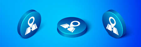 Isometric Map pin icon isolated on blue background. Navigation, pointer, location, map, gps, direction, place, compass, search concept. Blue circle button. Vector Illustration