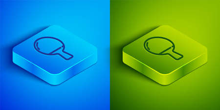 Isometric line Racket for playing table tennis icon isolated on blue and green background. Square button. Vector Illustration