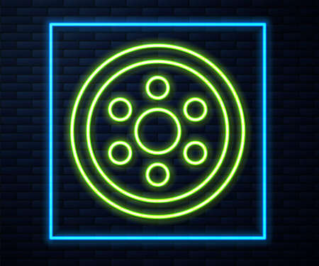 Glowing neon line Alloy wheel for a car icon isolated on brick wall background. Vector Illustration Illusztráció
