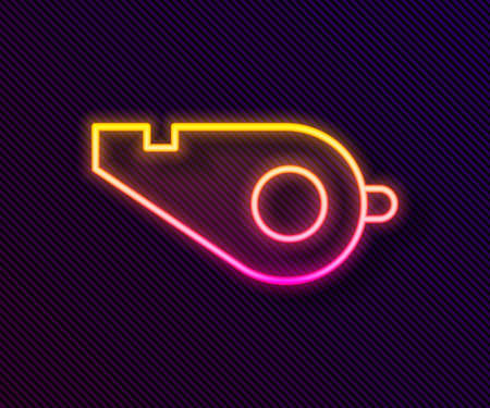 Glowing neon line Whistle icon isolated on black background. Referee symbol. Fitness and sport sign. Vector Illustration 일러스트