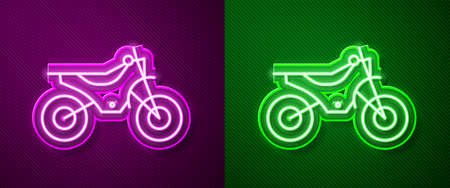 Glowing neon line Mountain bike icon isolated on purple and green background. Vector Illustration Ilustração