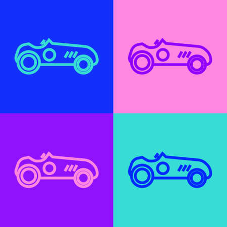 Pop art line Vintage sport racing car icon isolated on color background. Vector Illustration Illusztráció