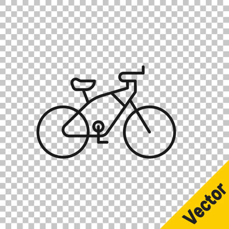 Black line Bicycle icon isolated on transparent background. Bike race. Extreme sport. Sport equipment. Vector Illustration Illusztráció