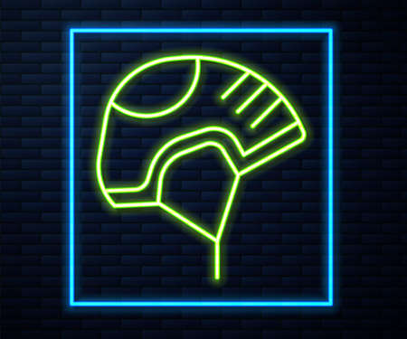 Glowing neon line Helmet icon isolated on brick wall background. Extreme sport. Sport equipment. Vector Illustration Illusztráció