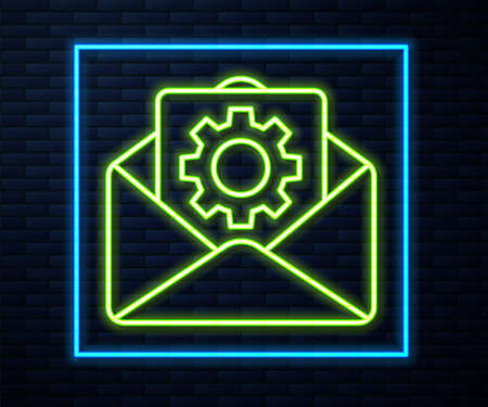 Glowing neon line Envelope setting icon isolated on brick wall background. Vector Illustration