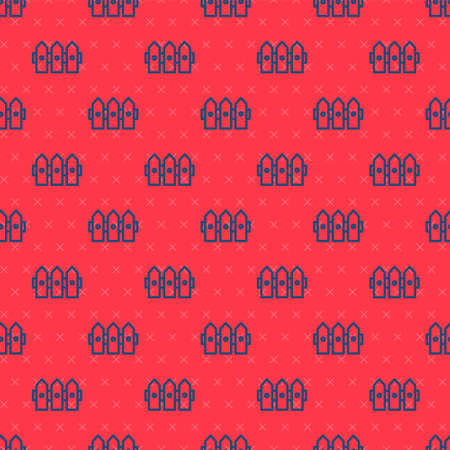 Blue line Garden fence wooden icon isolated seamless pattern on red background. Vector Illustration 向量圖像