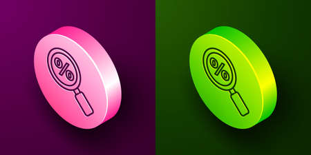 Isometric line Magnifying glass with percent icon isolated on purple and green background. Discount offers searching. Search for discount sale sign. Circle button. Vector Illustration