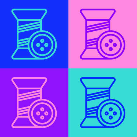 Pop art line Sewing thread on spool and button icon isolated on color background. Yarn spool. Thread bobbin. Vector Illustration