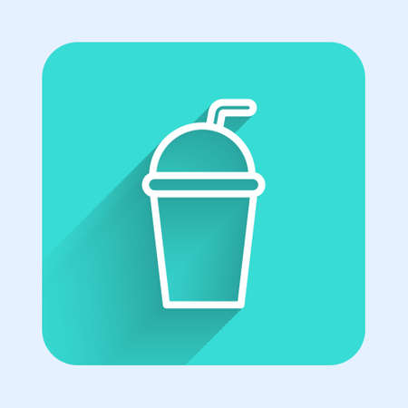 White line Paper glass with drinking straw and water icon isolated with long shadow. Soda drink glass. Fresh cold beverage symbol. Green square button. Vector Illustration 向量圖像