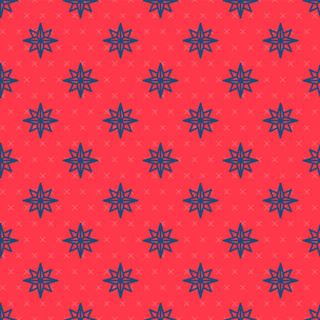 Blue line Wind rose icon isolated seamless pattern on red background. Compass icon for travel. Navigation design. Vector Illustration Ilustração