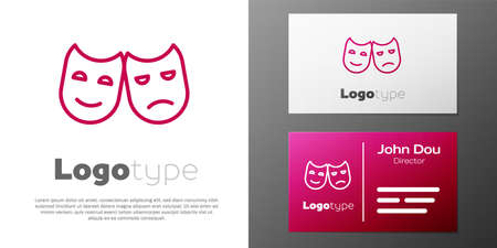 Logotype line Comedy and tragedy theatrical masks icon isolated on white background.