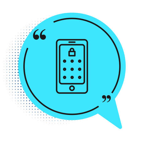 Black line Mobile phone and graphic password protection icon isolated on white background. Security, personal access, user authorization. Blue speech bubble symbol. Vector Illustration Vettoriali
