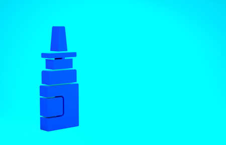 Blue Bottle nasal spray icon isolated on blue background. Minimalism concept. 3d illustration 3D render