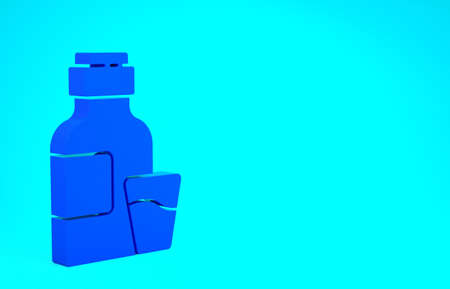 Blue Bottle of medicine syrup and dose measuring cup solid icon isolated on blue background. Minimalism concept. 3d illustration 3D render