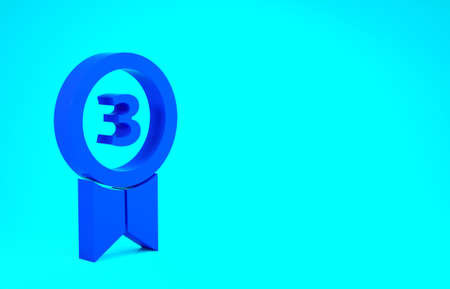 Blue Medal icon isolated on blue background. Winner achievement sign. Award medal. Minimalism concept. 3d illustration 3D render Stok Fotoğraf